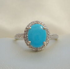 1.41ct Natural Arizona Sleeping Beauty Turquoise & Diamond Sterling Silver Ring