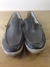 ROGUE Rascal Gray Leather Boat-Stitched Boat Shoes Casual Loafers Shoes, 10.5