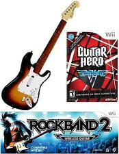 NEW Nintendo Wii Rock Band 2 Wireless Sunburst Guitar & G Hero Van Halen RARE