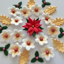 CHRISTMAS POINSETTIA BOUQUET Edible Sugar Paste Flowers Cake Decorations Toppers