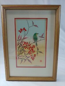 Japanese Bird on Heavenly Bamboo Nanadin woodblock prints Shizuo Ashikaga Frame
