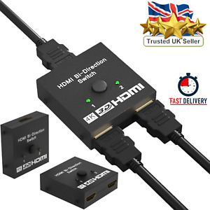 HDMI Splitter BI-Directional Switch 1 In 2 Out / 2 Input 1 Output for TV Monitor