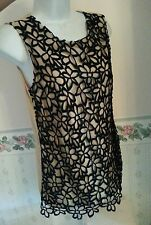 Neiman marcus lelit rose  guipure lace top black & tan retail 69 xs