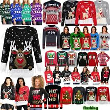 Womens Mens Ladies Unisex Xmas Christmas Jumpers Knitted Reindeer Retro 3D LIGHT