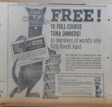 1960 newspaper ad for Capt Kitt Cat Food - Kitty Credit Card promo, Dining Club