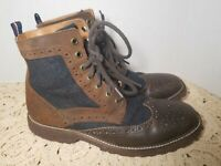Tommy Hilfiger Men's Oxford Brown Leather Boots Size 9 High Top Lace Up