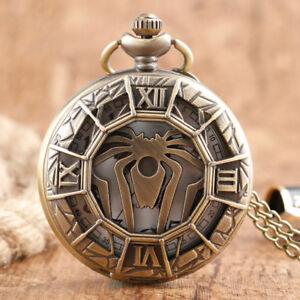 Retro Copper Spider Hollow House Targaryen Men Quartz Pocket Watch Pendant Chain