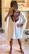 Bohemian Summer Flowy Serape Embroidered Ivory Kaftan Dress w/Tassel Ties S-XL