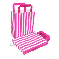 10 Pink Small SOS Stripe Paper Bags with Handle Party Gift Celebration Occasion