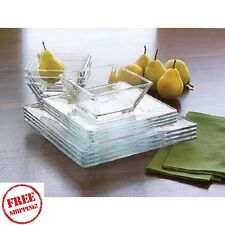 Glass Dinnerware Set Square 12 Pc Plates Dishes Bowls Salad Dinner Clear Service