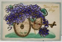 Heavy Embossed Glitter Decorated Cart of Silk Flowers Postcard D8