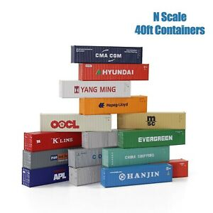 3pcs N Scale 40ft 1:160 Shipping Container Freight Cars Cargo Box