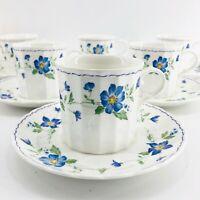 Mikasa Maxima CAJ02 Rotunda - Coffee/Tea Cup Small Mug & Saucers Set of 6 Blue