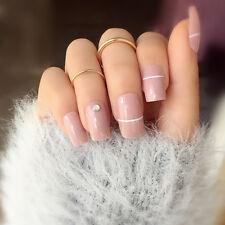 24pcs Long Fake Nails Tips Pink Acrylic Nails False Artificial Full Cover Nail
