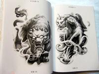 "WENJUN TATTOO Flash 11"" Book Buddha Lion Beast Elephant KOI Dragon Ghost Samurai"