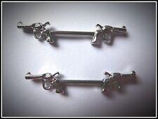 2 piezas Pistola de doble barra de pezón, Acero Quirúrgico, Anillo De Pezón, escudo, Piercing, arma