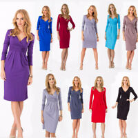 Lady Womens V Neck Office Formal Work Party Dress 3/4 Sleeve Tunic Pencil Dress