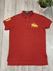 POLO RALPH LAUREN Mens Custom Fit Rugby Polo Shirt Top | Medium M | Red