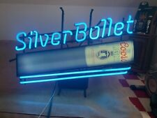 Vintage Coors Light Silver Bullet Beer Neon Sign Bar Man Cave