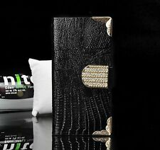 Luxury Bling PU Leather Case Magnetic Flip Wallet Cover For Samsung iPhone  N