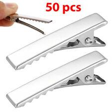 50 Media Argento Coccodrillo Alligator CLIP CAPELLI FIOCCO in metallo denti ardiglione pizzico