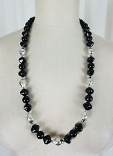 Vintage Black Genuine Lucite Geometric Faceted Resin Beads Abstract Necklace