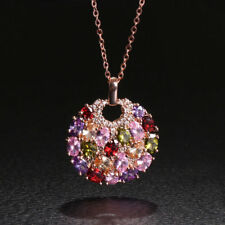Hot Sale Rose Gold Plated Multi-Color Zircon Round Pendant Necklace For Women