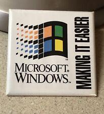 "Vintage Microsoft Windows ""Making it Easier"" 95-98 Pin Button Promo Techie Geek"