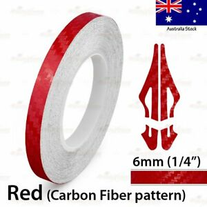 "1/4"" Vinyl Pinstriping Pin Stripe Car Styling Tape Sticker 6mm CARBON FIBER RED"