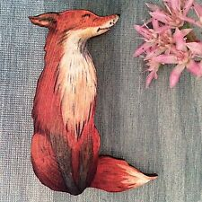 FOX wood lapel pin Wooden brooch accessory Animal jewellery Foxy fun gift badge