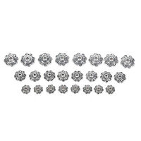 100Pcs Antiqued Silver Flower End Bead Caps For Jewelry Craft DIY TO