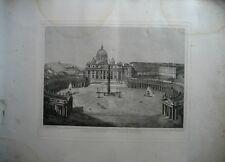 Gravure XIXè - Piazza e Basilica Dis.Pietro in Vaticano - Rome - Italie -1872