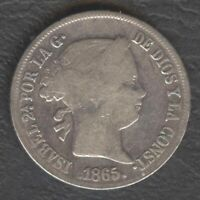 1865 Spanish Philippine ISABEL II 20 Centimos KM #146 Silver Coin, Stock- A4