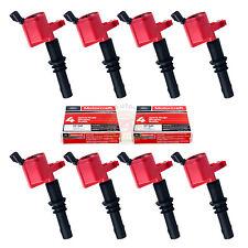 Set of 8 Red Ignition Coils DG511 Motorcraft Spark Plug SP515/SP546 For Ford