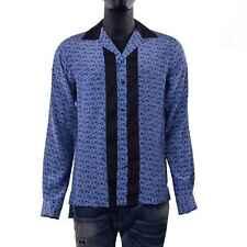 DOLCE & GABBANA RUNWAY Riviera Hemd Fußball Print Seide Blau Shirt Silk 06111
