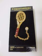 Swarovski Tennis Racquet and Ball Pave Crystal Pin Brooch, NEW