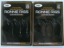 NGT MICRO-BARBED TEFLON COATED RONNIE RIGS CURVED SHANK SIZE 6 OR 8 3 PACK