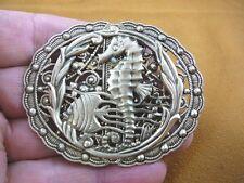 (B-Seah-2) little Seahorse fish seaweed ocean scene brass oval pin pendant