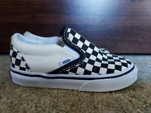 Infant Vans Slip On chequered Trainers Size 7 Uk