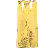 SWEET PEA STACY FRATI V Neck Racerback Mesh Gauze Tank Top Yellow Floral Small