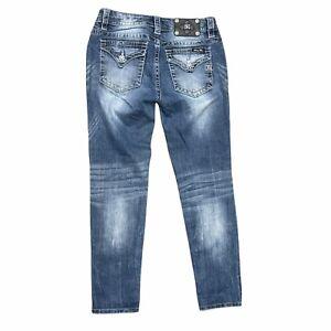 Miss Me Mid-Rise Skinny Jeans Flap Pockets 28 Inch Waist Medium Wash Blue Pants