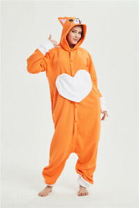 Welsh Corgi Dog Adult Sleepwear Orange Pajamas Cartoon Jumpsuit Cosplay Gift