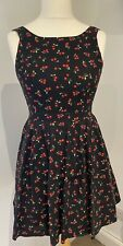 Special Edition Red Herring Black & Red Cherry Design Cotton Lined Dress, UK 10