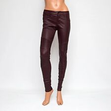 J Brand Deep Mulberry Red Mid-rise Skinny Stretch Leather Pants L8094 $1200