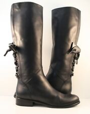 Valentino Garavani Black Leather Ascot Ribbon Riding Boots Womens Size EUR 40M