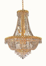 "World Crystal  Empire 32""H 12L foyer,Dining room Crystal Chandelier Light gold"