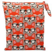1 Wet Dry Bag Baby Cloth Diaper Nappy Bag Reusable Two Zipper Glasses Fox