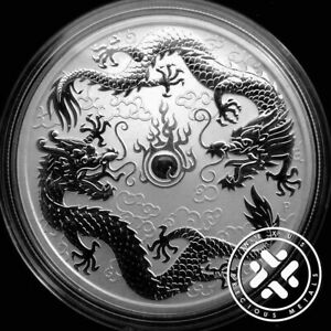 2019 Australia Perth Mint Double Dragon Silver 1 oz Coin Mint Capsule