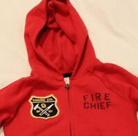 Gap Red Fire Chief Rescue Squad Full Zip Up Firefighter Toddler 2T Sweatshirt