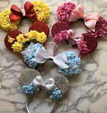 Handmade Disney Matching Mommy And Me Minnie Ears, Disney Ears, Flower Ears